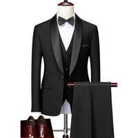 Men Skinny 3 Pieces Set Formal Slim Fit Tuxedo Prom Suit   Male Groom Wedding Blazers High Quality Dress Jacket Coat Pants Vest