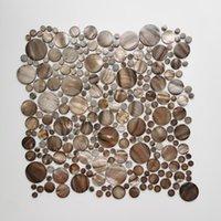 Duvar Kağıtları Çok Daireler Kabuk Mozaik Boyalı Gri Renk Tatlısu Karo Banyo Duvar Backsplash Dekorasyon Için