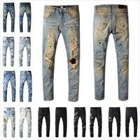 Mens desenhista jeans angustiado rasgado motociclista slim fit motocicleta denim para homens s top qualidade moda jean mans calças