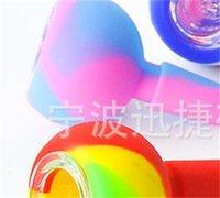 물 파이프 용 유리 SREEN과 실리콘 슬라이드 그릇 조각 유리 봉수 14mm 남성 조인트 조각 허브 담배 애쉬 포수 DAB 조작 391 S2