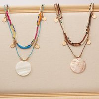 Pendant Necklaces Boho Multi-layer Candy Color Rice Beads Sweater Chain Necklace For Women Long Round Disc Lady Statement Jewelry