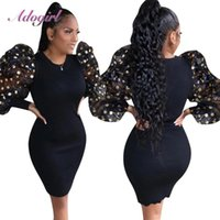 Casual Dresses 2021 Spring Sexy Sequins Sheer Mesh Puff Sleeve Ribbed Evening Party Dress Women O Neck Long Sleeved Bodycon Mini