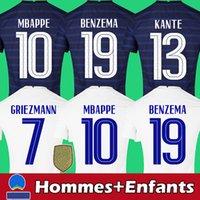Camisa de futebol da france 2021 Camisa de futebol 2022 frança kits masculinos e infantis KANTE BENZEMA MBAPPE GRIEZMANN POGBA qualidade tailandesa superior