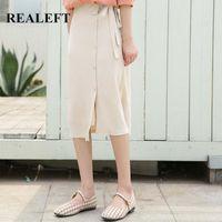 Skirts REALEFT Spring Summer 2021 Korean Style Casual Umbrella Midi Sashes High Waist Chiffon Button Straight Womens