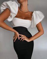 Vestidos Vero Sinly Mujeres Invierno Sexy Off Hombro Patchwork Midi Bodycon Vendaje 2021 Elegante fiesta de la tarde Club Vestidos