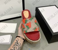 Angelina Sandalen -jacquard Organic Denim Slipper Steigerung dicker Sohlen Slides Luxurys Designer Hausschuhe Sommer Flache Flip Flops Spike