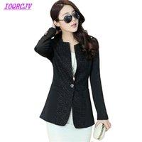 Artı Boyutu XL-5XL 2021 Bahar Bayan Blazers Tops Moda Dantel Dikiş Takım Elbise Ceket İnce Kadın Küçük Giyim IOQRCJV Q117 Kadın Takım Elbise