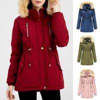 Women's Trench Coats Coat Zipper Closure Long Sleeve Waist Drawstring Jacket Detachable Hat Cashmere Lining Cotton Outerwear Casaco