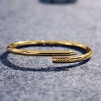 Gold Silber 316L Titan Stahl Klassische CZ Armreif Nagel Armband Hochzeit Inlay Diamant Frauen Und Männer Liebe Schmuck Geschenk
