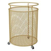 Tragbare goldene metall schmutzige kleidung behindert zylindrische Wäschekorb Veranstalter Badezimmer Sortierer 3 Farben Aufbewahrungskörbe