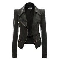 Frauen PU-Lederjacke Herbst Punk-Stil Schwarz Khaki Slim Zipper Revers Collar Motor Cool Street Mode Plus Size Warme Jacken