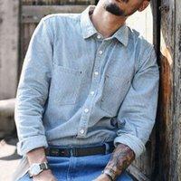 SauceZhan CY-009 Striped Shirt Men Chambray shirt long sleeve striped blouse Denim Shirts Jeans Vintage Casual Slim Fit