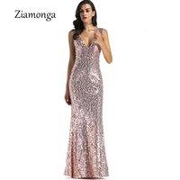 Casual Dresses Ziamonga Summer Dress Women Gold Sequin Deep V Neck Evening Party Mermaid Gown Elegant Sexy Wedding Vestido De Festa
