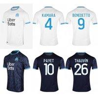 2020/21 Marselha Futebol Jerseys 2021 # 10 Payet Kamara Cabella Uniforme Olympique de Marselha # 26 Thauvin Balotelli Mitroglou Camisa de futebol