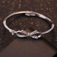 Bangle High Quality Metal Bracelet Silver Plated Elegant Triangle Zirconia Bowknot Bow Bracelets For Women