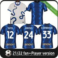 21 22 Inter Erkekler Futbol Forması Lukaku Milan Vidal Barella Lautaro Eriksen Alexis Hakimi Futbol Gömlek 2021 2022 Fanlar Oyuncu Sürüm Üniformaları