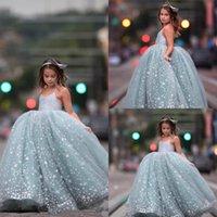 Vestido de bola de espagueti Pago de niña Vestidos de encaje Star Apliques Flower Girl Vestido Tulle Lindo niño Niños Vestidos de baile