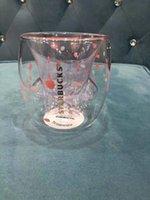 طبعة محدودة ستاربكس لطيف القط أكواب القدم مع كوستر القط مخلب القهوة القهوة لعب ساكورا 6oz الوردي كؤوس الزجاج جدار مزدوج