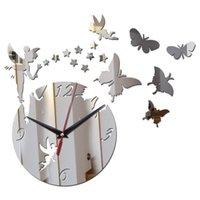 مرآة الاكريليك ساعة الحائط ملصقا الجنية نجوم فراشة غرفة المعيشة ديكور الساعات
