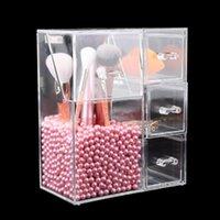 Potenciamento de escova de pincel de maquiagem de acrílico impermeável Pot Cosmetic Brushes Caso de armazenamento com gavetas Batom Sacos de lápis