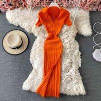 Casual Dresses Vestido feminino casual de malha com decote em v, mangas curtas, slim, elástico, altura do tornozelo, longo vestido, AWAE