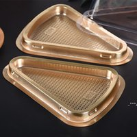 Caja de triángulo transparente Caja de queso Mousse postre Pasillo Embalaje Contenedor Negro Oro Panadero Panadería Boxes de embalaje FWB5957