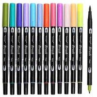 Dainaayw двойные кисточки пера художественные маркеры, первичные, 12-упаковочные, абстаментальные и тонкие маркеры для ведения журнала 210909