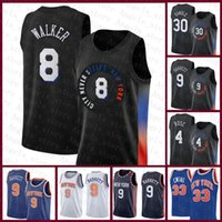 "2021 New Kemba 8 Walker New ""York"" Knicks ""Mens Basket Jersey Gersey RJ 9 Barrett Patrick 33 Ewing Julius 30 randle Derrick 4 rosa contrasto colore blu"