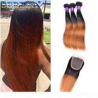 Bundles de tissage de cheveux brésiliens colorés avec fermeture soyeuse droite racine foncée T 1B 30 extensions de cheveux humains ombre cheveux bruns BOB style