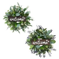 Decorative Flowers & Wreaths Artificial Eucalyptus Garland Greenery Leaves Wreath Wedding Welcome Sign Home Front Door Window Farmhouse Wall