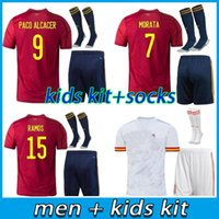 Erwachsene Kinder Kit 2021 Spanien Home Fussball Jersey 20 21 Ferran Asensio Morata Isco Insta Paco Alcacer Saul Xavi Raul Football Hemden