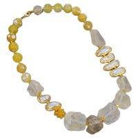 "GuaiGuai Jewelry Natural Lemon Quartzs Rough White Biwa Freshwater Pearl Round Agates Choker Necklace 21"" Vintage For Women"