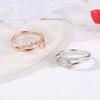 Heart Rings White Rose Gold Double Ring Engagement Wedding Rings