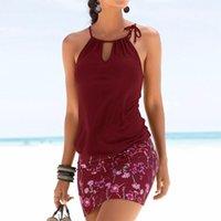 سيدة أنثى 2019 اللباس المرأة الرسن الأزهار طباعة المرقعة أكمام الجوف خارج الرجعية الصيف شاطئ فساتين الأزياء-موشو مثير مصغرة