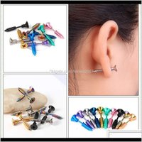Décor Home & Gardenscrew Stud Earrings 10 Colors Women Titanium Steel Punk Fashion Funny Ear Lady Jewelry Halloween 2Pcs Pair Novelty Items