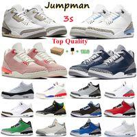 Jumpman 3 3s III Basketbol Ayakkabıları Pas Pembe Beyaz Çimento Tinker Georgetown Fragment Rakipler Trainers Spor Sneaker Kutusu Ile