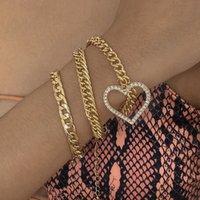 Crystal Heart Pendant Bracelet Set for Women Multi-layer Cuban Thick Chains Metal Bracelets Bangle Punk Jewelry