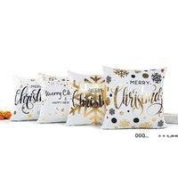 Feliz feliz navidad cojín cubierta oro impreso almohada decorativa fundas de almohada sofá fundas de almohada suave oro decoraciones 45 * 45cm FWF10290