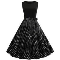 캐주얼 드레스 블랙 화이트 패치 워크 폴카 도트 여름 드레스 여성 빈티지 50s 60s 핀 업 락빌리 플러스 사이즈 가운 파티 사무실