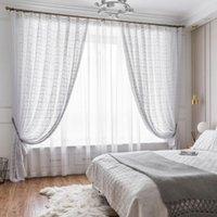 Занавесы шторы шторы для гостиной белый ручной работы полупрозрачный ретро полый готовый продукт французский окно экран