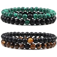 Beaded, Strands High Quality 2Pcs Set Elastic Bracelet Turquoises 6MM Beads Jewelry Natural Stone Spacer Rope Bracelets&Bangles For Men Wome