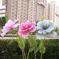 الزهور الزهور أكاليل الاصطناعي على نطاق واسع الكتان الفاوانيا زهرة فرع ماغنوليا دليل الطريق الزفاف قوس خلفية الديكور نافذة