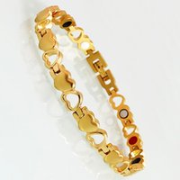 Link, Chain Women's Gold Color Stainless Steel Bracelet Heart Shape Armband Germanium Health Care Magnetic Lady Wristband Femme Jewelry Kpop