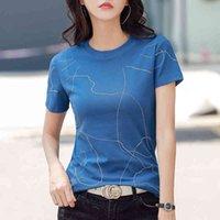 Women's T-Shirt mujer 2021 t-shirts short sleeves women tshirt cotton tops thin T-shirt women's clothes women's vetement diamonds femme Z4SB