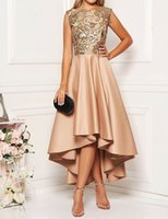 Sequins Bodice High Low Homecoming Dress Satin Prom Gowns Sequin Party Gown 8 Grade Graduation Dresses