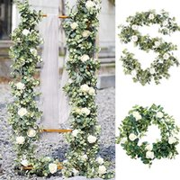 Decorative Flowers & Wreaths Fake Flower Eucalyptus Garland With Camellias Artificial Silk Rose Vine Decor Hanging Faux Leave Floral For Wed