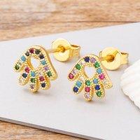 Stud Nidin Fashion 11 Arten Shinny Kupfer CZ Hamsa Ohrringe Charme Palm Schmuck Party Hochzeit Geschenk für Frauen Mädchen