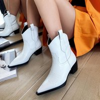 Boots Short Women's Middle Heel 2021 Pointed Thick White Western Cowboy Net Red Fashion Trend