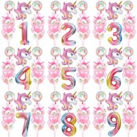 Rainbow Decompression Toy Unicorn Birthday Party Balloon For Kids Girl Family Background Wall Decoration Number Set Other Numbers Can Be Customized