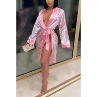 Kadın Pijama Seksi Saten Robe Trendy Dolar Baskı Uzun Kollu V Boyun Ipeksi Kimono Bornoz Kemer